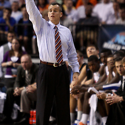 Mar 19, 2011; Tampa, FL, USA; Florida Gators head coach Billy Donovan  during second half of the third round of the 2011 NCAA men's basketball tournament against the UCLA Bruins at the St. Pete Times Forum. Florida defeated UCLA 73-65.  Mandatory Credit: Derick E. Hingle