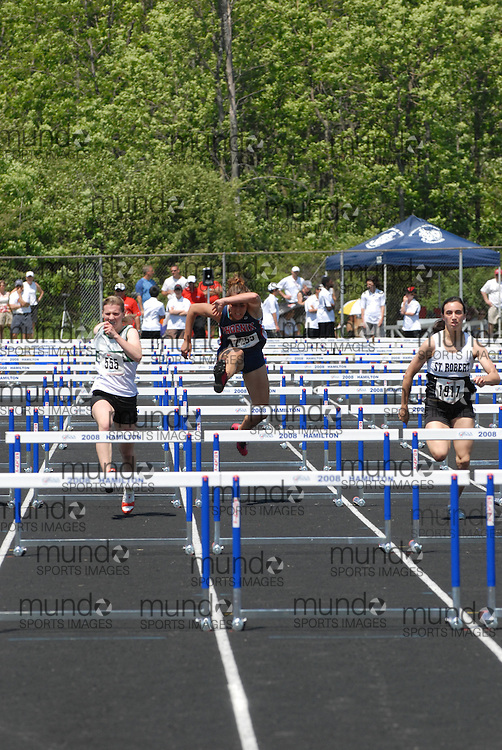 Hamilton, Ontario ---06/06/08--- Rita Rudell of Wiarton in Wiarton competes in the sprint hurdle finals at the 2008 OFSAA Track and Field meet in Hamilton, Ontario..Mark Butterwick