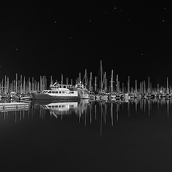 A very still night at Manly Marina in Queensland. This si available in colour and black and white.