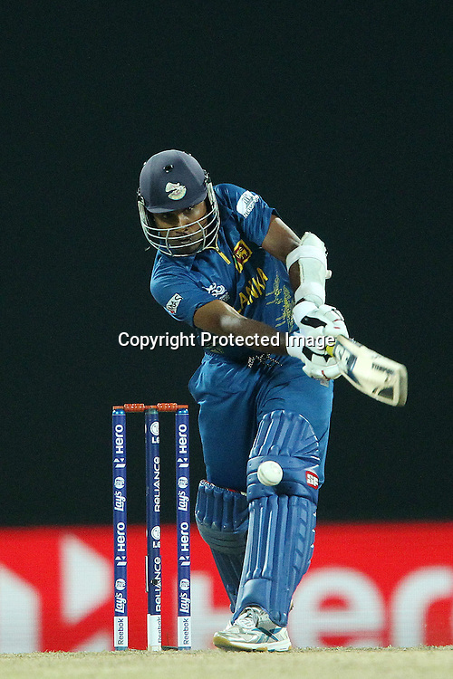 Mahela Jayawardene mis-times a delivery from Jade Dernbach of England  during the ICC World Twenty20 Super Eights match between England and Sri Lanka held at the  Pallekele Stadium in Kandy, Sri Lanka on the 1st October 2012<br /> <br /> Photo by Ron Gaunt/SPORTZPICS