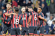 Goal - Junior Stanislas (19) of AFC Bournemouth celebrates scoring a goal to give a 1-0 lead to the home team during the EFL Cup 4th round match between Bournemouth and Norwich City at the Vitality Stadium, Bournemouth, England on 30 October 2018.