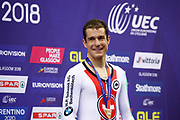 Podium, Men Individual Pursuit, Claudio Imhof Switzerland), Bronze medal, during the Track Cycling European Championships Glasgow 2018, at Sir Chris Hoy Velodrome, in Glasgow, Great Britain, Day 4, on August 5, 2018 - Photo Luca Bettini / BettiniPhoto / ProSportsImages / DPPI - Belgium out, Spain out, Italy out, Netherlands out -