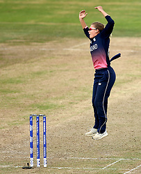 Alex Hartley of England Women jumps in frustration after a catch is dropped off her bowling by Anya Shrubsole of England Women - Mandatory by-line: Robbie Stephenson/JMP - 09/07/2017 - CRICKET - Bristol County Ground - Bristol, United Kingdom - England v Australia - ICC Women's World Cup match 19