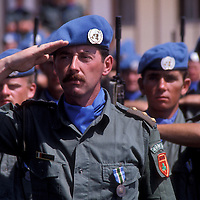 Irish troops, part of the United Nations Interim Force in Lebanon - UNIFIL contingent stationed in Lsouthern Lebanon, stand at attention during parade in 1981.
