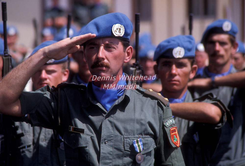 Irish troops, part of the UNIFIL contingent stationed in Lsouthern Lebanon, stand at attention during parade in 1981.