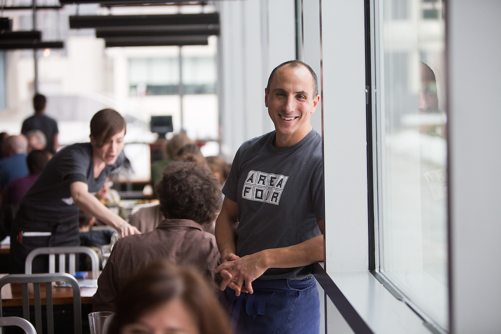 01/26/2014 -- CAMBRIDGE, Mass. -- Chef Michael Leviton poses for a portrait at his restaurant Area Four in Cambridge's Kendall Square on Jan. 25, 2014. Area Four started out as a pizza and coffee shop concept, and has since expanded into a second pizza-only location and a food truck.<br /> <br /> CREDIT: Kelvin Ma for the Wall Street Journal<br /> <br /> WORKOUT.LEVITON