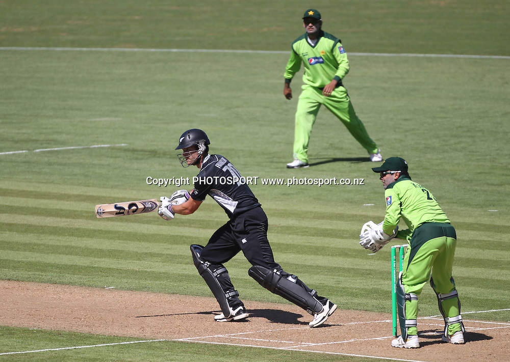 Nathan McCullum just makes his ground as Pakistan wicketkeeper Kamran Akmal takes the bails off during the 4th ODI, Black Caps v Pakistan, One Day International Cricket. McLean Park, Napier, New Zealand. Tuesday 1 February 2011. Photo: Andrew Cornaga/photosport.co.nz