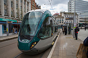 National Express Transit (NET) tram number 226 stopping at a stop in Nottingham, Nottinghamshire, United Kingdom. Trams run throughout the city to stop people using cars and encourage them to use more sustainable transport mechanisms.  (photo by Andrew Aitchison / In pictures via Getty Images)