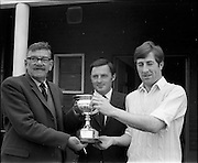 18/07/1970<br /> 07/18/1970<br /> 18 July 1970<br /> Cricket: Clontarf 1st XI v Old Belvedere, Leinster Senior Cup Final at Clontarf Cricket Club, Castle Avenue, Dublin. Mr. Allen O'Donnell (left), Past President L.C.U., and Mr. Fergus Carroll, Captain of Clontarf 1st XI, runners up of the Leinster Senior Cup Final, pose with the trophy before the match. Centre is Mr. Dermot Byrne, Brand Manager, Player-Wills, sponsors of the finals.