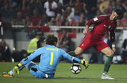 October 10, 2017 - Lisbon, Portugal - Portugal's forward Cristiano Ronaldo (R) vies with Switzerland's goalkeeper Yann Sommer during the FIFA 2018 World Cup Qualifier match between Portugal and Switzerland at the Luz Stadium on October 10, 2017 in Lisbon, Portugal. (Credit Image: © Carlos Costa/NurPhoto via ZUMA Press)