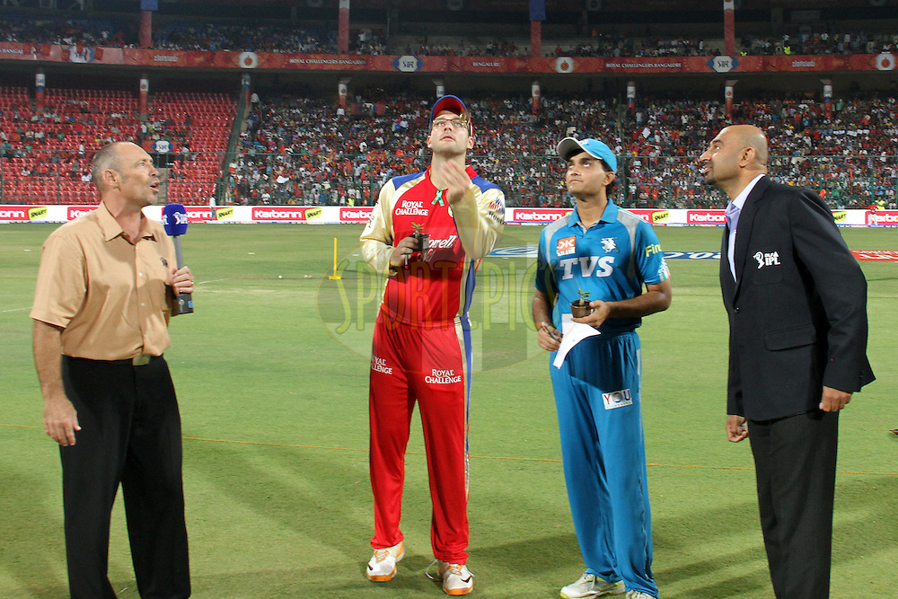 Toss for match 21 of the the Indian Premier League ( IPL) 2012  between The Royal Challengers Bangalore and the Pune Warriors India held at the M. Chinnaswamy Stadium, Bengaluru on the 17th April 2012..Photo by Prashant Bhoot/IPL/SPORTZPICS