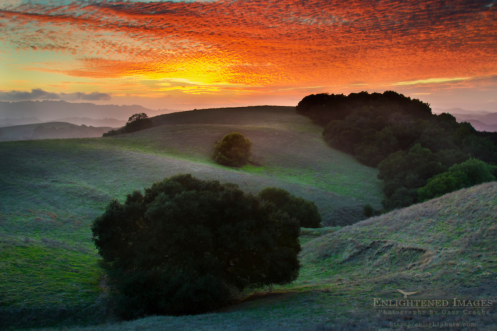 Sunset light on clouds over hills in Briones Regional Park, Contra Costa County, California