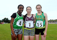 21 Aug 2016:  Aoibhe Deely, from Galway, centre, 1st place, Oyinkan Adedeji, left, from Limerick, 2nd place, and Ella McDaid, right, from Leitrim, 3rd place in the Girls U14 Hurdles final.  2016 Community Games National Festival 2016.  Athlone Institute of Technology, Athlone, Co. Westmeath. Picture: Caroline Quinn