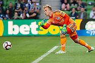 Melbourne Victory goalkeeper Lawrence Thomas (20) passes the ball at the Hyundai A-League Round 4 soccer match between Melbourne Victory and Central Coast Mariners at AAMI Park in Melbourne.