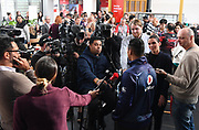 Warriors captain Roger Tuivasa-Sheck talks to the media.<br /> Vodafone New Zealand announce the renewing of sponsorship for the Vodafone Warriors at InnoV8 Auckland Vodafone HQ, North Shore, Auckland. Thursday 24 May 2018. © Copyright Image: Andrew Cornaga / www.photosport.nz