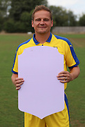 AFC Wimbledon manager Neal Ardley holding Fifa sign during the AFC Wimbledon 2018/19 official photocall at the Kings Sports Ground, New Malden, United Kingdom on 31 July 2018. Picture by Matthew Redman.