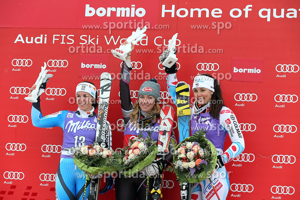 05.01.2014, Stelvio, Bormio, ITA, FIS Ski Alpin Weltcup, Salom, Damen, Siegerpraesentation, im Bild Siegerbild v.l.n.r. Maria Pietilae-Holmner, Mikaela Shiffrin, Nastasia Noens // f.l.t.r. Maria Pietilae-Holmner, Mikaela Shiffrin, Nastasia Noens celebrate on podium after the ladies Slalom of the Bormio FIS Ski World Cup at the Stelvio Course in Bormio, Italy on 2014/01/05. EXPA Pictures &copy; 2014, PhotoCredit: EXPA/ Sammy Minkoff<br /> <br /> *****ATTENTION - OUT of GER*****