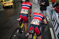 Team Norway riders try to catch their breath after finishing the 97,1 km second stage of the 2016 Ladies' Tour of Norway women's road cycling race on August 13, 2016 between Mysen and Sarpsborg, Norway. (Photo by Balint Hamvas/Velofocus)