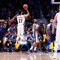 03 April 2018: Denver Nuggets guard Jamal Murray (27) goes for the jump shot past Indiana Pacers forward Thaddeus Young (21) during the Denver Nuggets 107-104 victory over the Indiana Pacers, at the Pepsi Center, Denver, Colorado, USA.
