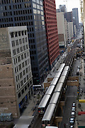 "Chicago's elevated train, called ""the El"" by Chicagoans, in downtown Chicago, IL, USA."
