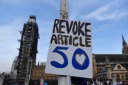 "©  Licensed to London News Pictures. 23/03/2019. LONDON, UK.  A sign affixed to the railings of the Houses of Parliament after people took part in the ""Put It To The People March"", on what was supposed to be six days before the UK was due to leave the EU, before an extension to the departure date was given.  Protesters demand that the public is given a final say on Brexit as support for the Prime Minister's withdrawal plan continues to recede.  Photo credit: Stephen Chung/LNP"