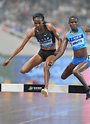 Beatrice Chepkoech (KEN) defeats Noah Jeruto (KEN) to win the women's steeplechase, 9:07.27 to 9:09.39, during the IAAF Diamond League Shanghai 2018 in Shanghai, China, Saturday, May 12, 2018. (Jiro Mochizukii/Image of Sport)