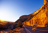 Road cyclists climb in the Colorado National Monument near Fruita Colorado model released