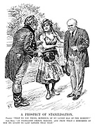 "A Prospect of Stabilisation. France. ""What do you think, monsieur, of my latest man of the moment?"" John Bull. ""An excellent choice, madame. And from what I remember of him he ought to last longer than that."""