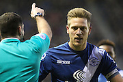 Birmingham City FC defender Michael Morrison in discussion with the ref during the Sky Bet Championship match between Derby County and Birmingham City at the iPro Stadium, Derby, England on 16 January 2016. Photo by Aaron Lupton.