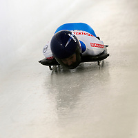 27 February 2007:  Svetlana Trunova of Russia slides through the Chicane in the 3rd run at the Women's Skeleton World Championships competition on February 27 at the Olympic Sports Complex in Lake Placid, NY.
