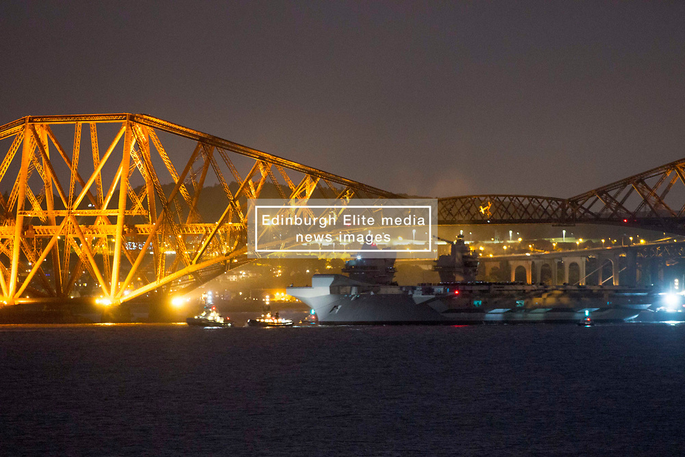 HMS Queen Elizabeth sails under the Forth Rail Bridge, River Forth, 26/06/2017<br />