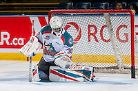 KELOWNA, CANADA - FEBRUARY 17: Michael Herringer #30 of the Kelowna Rockets warms up in net against the Spokane Chiefs on February 17, 2017 at Prospera Place in Kelowna, British Columbia, Canada.  (Photo by Marissa Baecker/Shoot the Breeze)  *** Local Caption ***