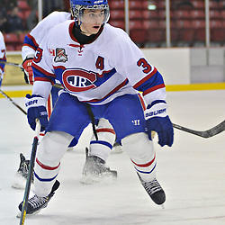 TORONTO, ON - Nov 10: Ontario Junior Hockey League game between Toronto Jr. Canadiens and Toronto Lakeshore Patriots. Daniel Lombardi #3 of the Toronto Junior Canadiens during second period game action..(Photo by Shawn Muir / OJHL Images)