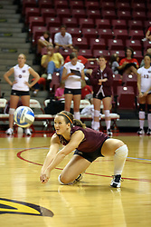 22 September 2007: Nikke Vanderpopulier kneels for a low dig. In a nip and tuck match, the Missouri State Bears beat the Illinois State Redbirds 3 games to one at Redbird Arena on the campus of Illinois State University in Normal Illinois.