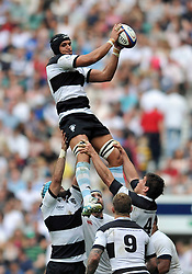 Juandre Kruger (Barbarians) rises high to win lineout ball - Photo mandatory by-line: Patrick Khachfe/JMP - Tel: Mobile: 07966 386802 01/06/2014 - SPORT - RUGBY UNION - Twickenham Stadium, London - England XV v Barbarians - International Friendly.