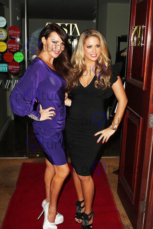 LONDON - April 12: Lizzie Cundy & Bianca Gascoigne at the Stitch Me, Lift Me, Tuck Me Wrap Party (Photo by Brett D. Cove)