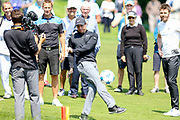 Rory Mcllroy kicks a football onto the 18th green during the Celebrity Pro-Am day at Wentworth Club, Virginia Water, United Kingdom on 23 May 2018. Picture by Phil Duncan.
