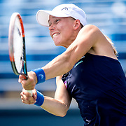 August 25, 2016, New Haven, Connecticut: <br /> Johanna Larsson of Sweden in action during a match against Roberta Vinci of Italy on Day 7 of the 2016 Connecticut Open at the Yale University Tennis Center on Thursday, August  25, 2016 in New Haven, Connecticut. <br /> (Photo by Billie Weiss/Connecticut Open)