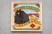 Grand Canyon Railway plaque, Williams, Arizona USA