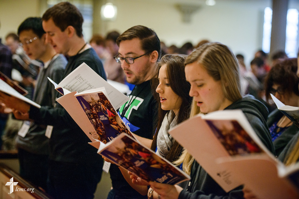 Student attendees sing during Matins at the Liberty National LCMS Campus Ministry Conference on Thursday, Jan. 5, 2017, at the University of Maryland in College Park, Md. LCMS Communications/Erik M. Lunsford