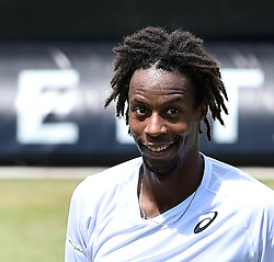 12.06.2015, Tennis Club Weissenhof, Stuttgart, GER, ATP Tour, Mercedes Cup Stuttgart, Viertelfinale, im Bild Gael Monfils (FRA) Schlussjubel nach gewonnenem Match Jubel jubelt Freude Emotion freundlich laecheln laechelt laechelnd gute Laune // during quarter Finals of Mercedes Cup of ATP world Tour at the Tennis Club Weissenhof in Stuttgart, Germany on 2015/06/12. EXPA Pictures &copy; 2015, PhotoCredit: EXPA/ Eibner-Pressefoto/ Weber<br /> <br /> *****ATTENTION - OUT of GER*****