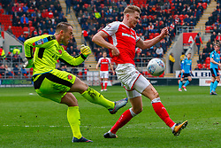 Michael Smith of Rotherham United blocks a kick by Alex Cairns of Fleetwood Town - Mandatory by-line: Ryan Crockett/JMP - 07/04/2018 - FOOTBALL - Aesseal New York Stadium - Rotherham, England - Rotherham United v Fleetwood Town - Sky Bet League One