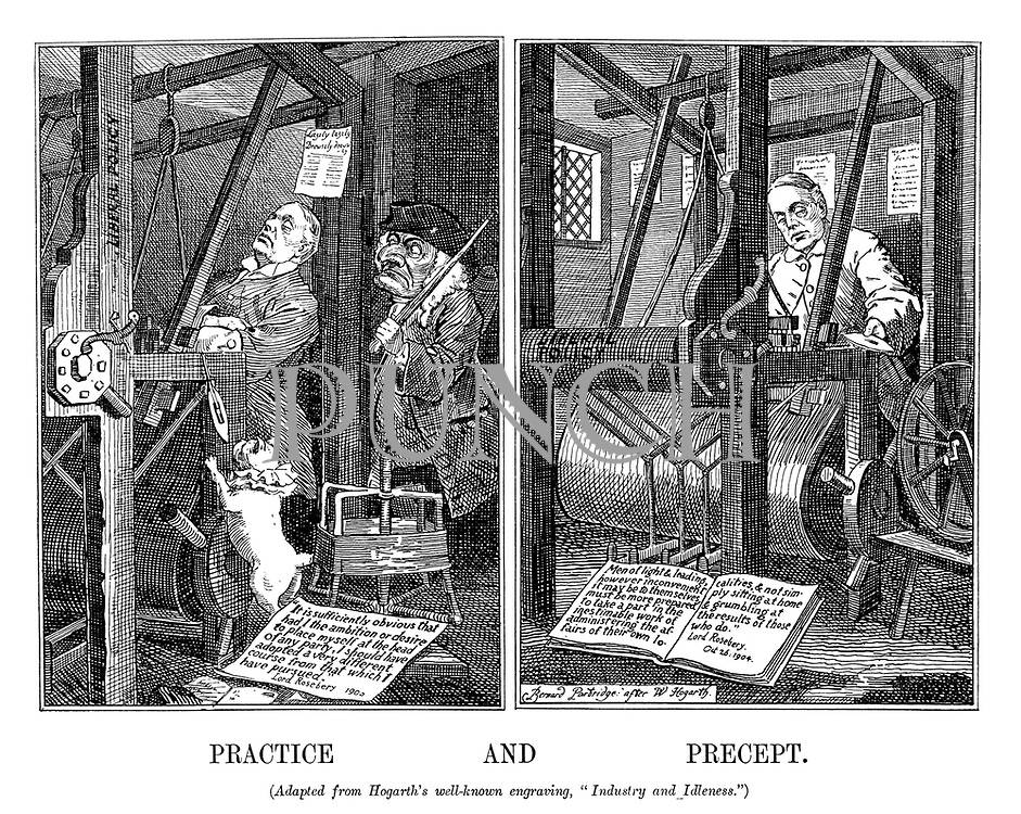 "Practice and Precept. (Adapted from Hogarth's well-known engraving, ""Industry and Idleness."")"