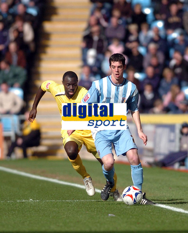 Photo: Leigh Quinnell.<br /> Coventry City v Preston North End. Coca Cola Championship. 01/04/2006. Coventrys Richard Duffy breaks away from Prestons Patrick Agyemang.