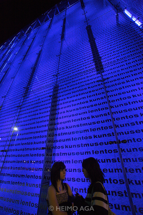 Linz, Cultural Capital of Europe 2009. Lentos Kunstmuseum. The transparent facade is lit by lamps with varying colors.