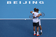 11.10.2015. Beijing, China.  Vasek Pospisil (R)of Canada and Jack Sock of the United States celebrate during the mens  doubles final against Danel Nestor of Canada and Edouard Roger-Vasselin of France at 2015 China Open Tennis Tournament in Beijing, capital of China, Oct. 11, 2015. Pospisil and Sock won 2-1 to claim the title.