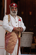 Shriji Arvind Singh Mewar in ceremonial dress outside his residence Shambhu Palace in Udaipur, Rajasthan, India.