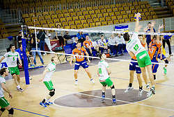 Aljosa Bogozalec of Panvita Pomgrad during volleyball game between OK ACH Volley and OK Panvita Pomgrad in 1st final match of Slovenian National Championship 2013/14, on April 6, 2014 in Arena Tivoli, Ljubljana, Slovenia. Photo by Vid Ponikvar / Sportida