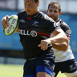 Etienne Oosthuizen and Cobus Reinach during The Cell C Sharks press conference and training session at Growthpoint Kings Park in Durban, South Africa. 16th March 2017(Photo by Steve Haag)<br /> <br /> images for social media must have consent from Steve Haag
