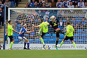 Chesterfield goalkeeper Ryan Fulton (12) makes a save from Northampton midfielder Harry Beautyman (16) shot at goal during the EFL Sky Bet League 1 match between Chesterfield and Northampton Town at the Proact stadium, Chesterfield, England on 17 September 2016. Photo by Aaron  Lupton.